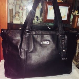 Tumi Leather Tote Laptop Shoulder Bag